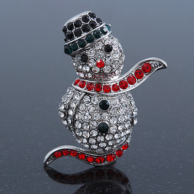 Christmas Crystal 'Snowman' Brooch In Rhodium Plating - 48mm Length