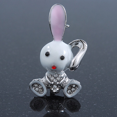 Cute White Enamel, Crystal 'Bunny' Brooch In Rhodium Plating - 42mm Length