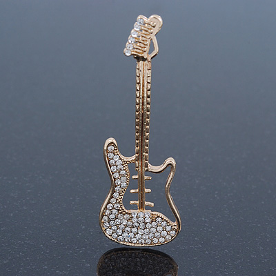 Gold Plated Crystal 'Guitar' Brooch - 57mm Length