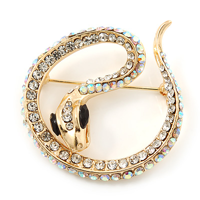 Avalaya Clear Austrian Crystal 'Snake' Brooch In Gold Plating - 65mm Length C3d0U0sr