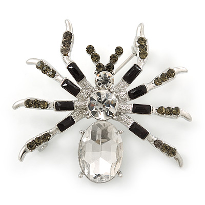Clear/ Grey Crystal, Black Enamel 'Spider' Brooch In Rhodium Plating - 40mm Width - main view