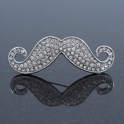 Quirky Clear Austrian Crystal Moustache Brooch In Rhodium Plating - 50mm Length