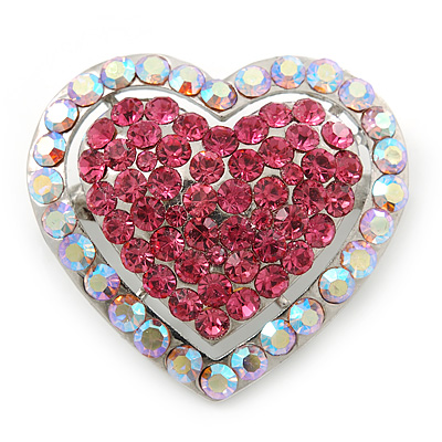 Silver Tone Dazzling Diamante Heart Brooch (Pink/ AB) - 40mm Length - main view