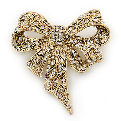Swarovski Crystal 'Bow' Brooch In Gold Tone - 65mm Length
