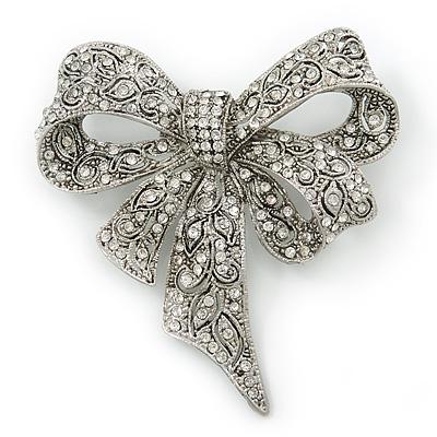 Marcasite Swarovski Crystal 'Bow' Brooch In Silver Tone - 65mm Length