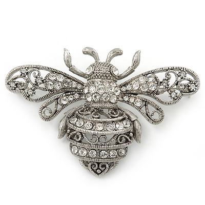 Large Silver Tone Filigree, Swarovski Crystal 'Bumble Bee' Brooch - 70mm Width