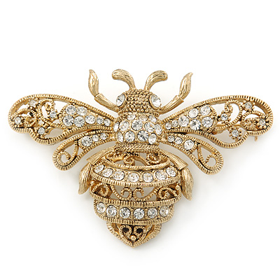 Vintage Inspired Antique Gold Tone Crystal 'Bumble Bee' Brooch - 60mm Width