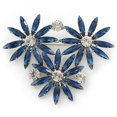 Cobalt Blue, Clear Triple Flower Corsage Brooch In Silver Tone - 75mm Across