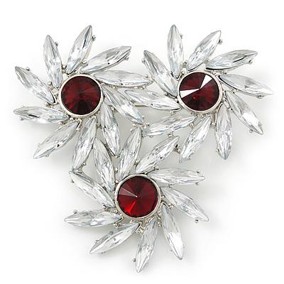Clear, Red Triple Flower Corsage Brooch In Silver Tone - 70mm Across