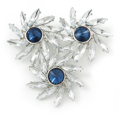 Clear, Cobalt Blue Triple Flower Corsage Brooch In Silver Tone - 70mm Across