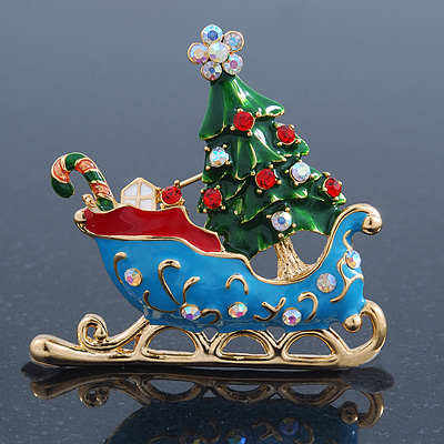 Gold Plated Multicolored Enamel, Crystal Christmas Sleigh Brooch- 53mm Length