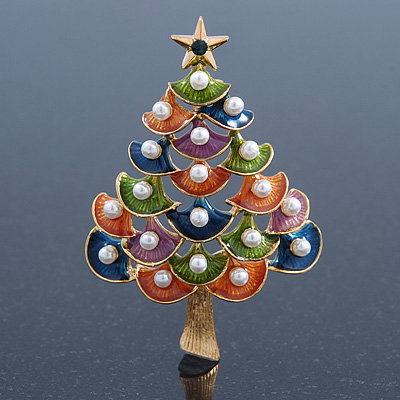 Multicoloured Enamel Simulated Pearl Christmas Tree Brooch In Gold Plating - 55mm Length