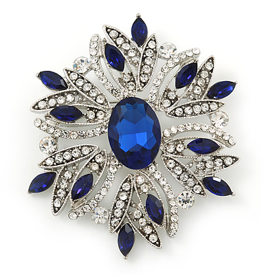 Stunning Navy Blue, Clear Austrian Crystal Corsage Brooch In Rhodium Plating - 60mm Length