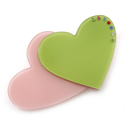 Baby Pink/ Lime Green Austrian Crystal Double Heart Acrylic Brooch - 70mm Across - main view