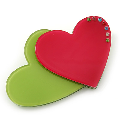 Lime Green/ Deep Pink Austrian Crystal Double Heart Acrylic Brooch - 70mm Across - main view