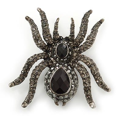 Large Black, Grey Crystal Spider Brooch In Black Tone Metal - 58mm Width