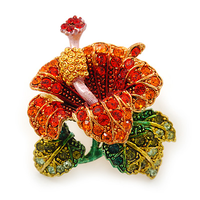 Red, Orange, Green Austrian Crystal Exotic Flower Brooch/ Pendant In Gold Plating - 35mm Length - main view