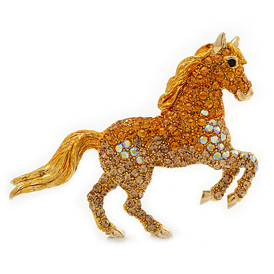Orange Gold/ Citrine Pave Set Austrian Crystal 'Horse' Brooch In Gold Plating - 65mm Across