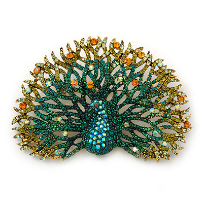 Large Multicoloured Austrian Crystal 'Peacock' Brooch/ Pendant In Antique Gold Metal - 80mm Width