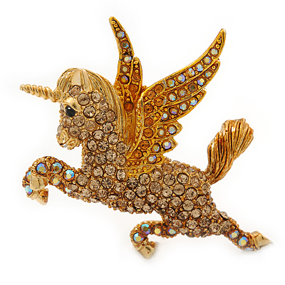 Stunning Austrian Crystal 'Unicorn' Brooch In Antique Gold Tone (AB, Orange, Light Topaz Colours) - 50mm Length