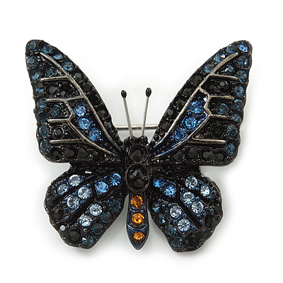 Small Black, Orange, Blue Austrian Crystal 'Monarch' Butterfly Brooch In Black Tone Metal - 30mm Length - main view