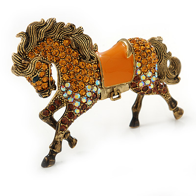 Topaz Coloured Swarovski Crystal Horse Brooch In Antique Gold Tone - 70mm Across