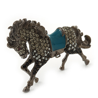 Hematite Coloured Swarovski Crystal Horse Brooch In Gun Metal Tone - 70mm Across