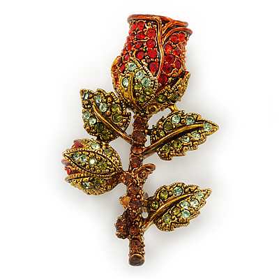 Red/ Green Swarovski Crystal 'Rose' Brooch In Antique Gold Tone - 43mm Across - main view