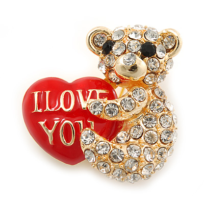 Crystal Teddy Bear With A Red 'I LOVE YOU' Heart Brooch In Gold Plating - 30mm Length