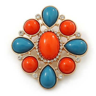 Coral/ Turquoise Coloured Acrylic Stone Corsage Brooch In Gold Plating - 55mm Across