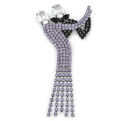 'Dancing Couple' Austrian Crystal Brooch In Gun Metal Finish (Black & Lilac Colour) - 105mm Length - main view