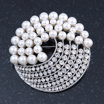 Large Bridal Glass Pearl, Crystal Dome Shape Corsage Brooch In Rhodium Plating - 60mm Diameter