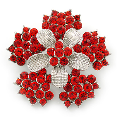 Bright Red Crystal Flower Brooch In Rhodium Plating - 45mm Diameter - main view
