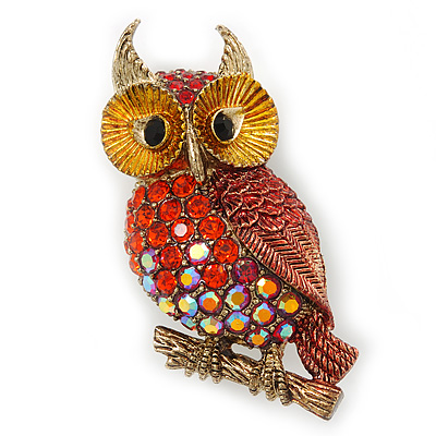 Brick Red, Burgundy, AB Swarovski Crystal Owl Brooch/ Pendant In Gold Plating - 40mm Length