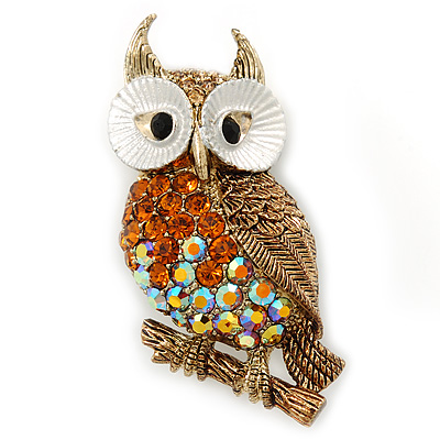 Topaz, AB Swarovski Crystal Owl Brooch/ Pendant In Gold Plating - 40mm Length