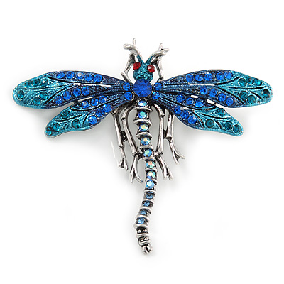 Azure, Teal, Sky, Sapphire Blue Austrian Crystal Dragonfly Brooch In Antique Silver Tone - 70mm Across