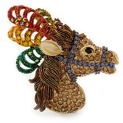 Multicoloured Austrian Crystal Circus Horse Head Brooch/ Pendant In Gold Tone - 70mm Across - main view