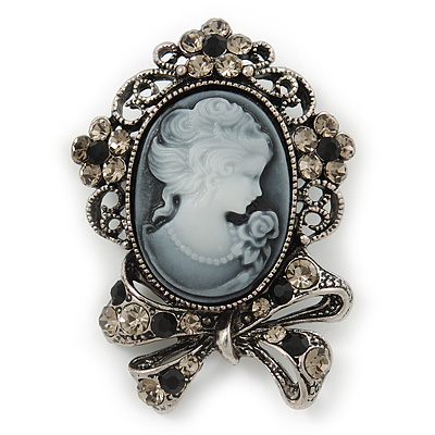 Vintage Inspired Crystal Cameo With Bow Brooch/ Pendant In Antique Silver Metal - 45mm Length - main view