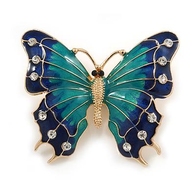 Green/ Dark Blue Enamel, Crystal Butterfly Brooch In Gold Tone - 55mm L