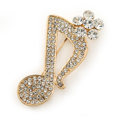 Avalaya Gold Plated Multicoloured Crystal Musical Notes Brooch - 45mm L N43yNtdcc