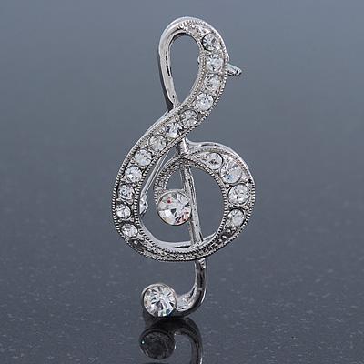 Rhodium Plated Diamante 'Treble Clef' Brooch - 50mm L