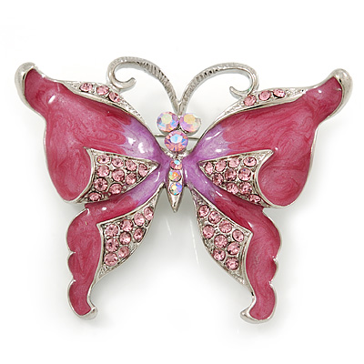 Pink Enamel Crystal Butterfly Brooch In Rhodium Plating - 50mm W - main view