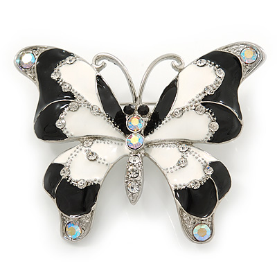 Black/ White Enamel Crystal Butterfly Brooch In Rhodium Plating - 50mm W - main view