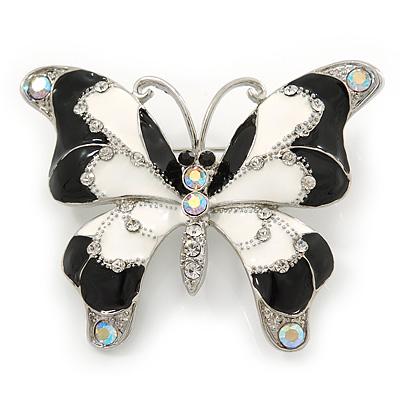 Black/ White Enamel Crystal Butterfly Brooch In Rhodium Plating - 50mm W - main view