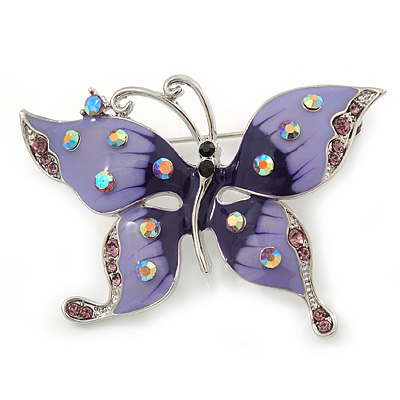 Purple & Violet Enamel Crystal Butterfly Brooch In Rhodium Plating - 55mm W - main view