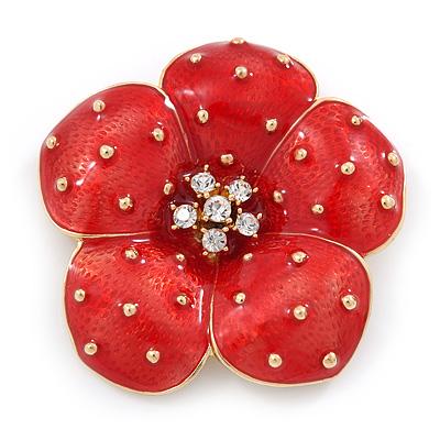 Red Enamel, Crystal Poppy Flower Brooch In Gold Plating - 50mm D