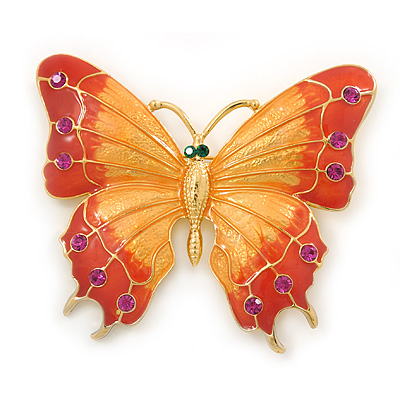 Gigantic Orange/ Pink Enamel, Crystal Butterfly Brooch In Gold Plating - 80mm Across - main view