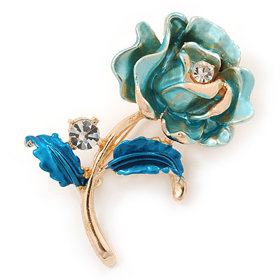 Romantic Light Blue/ Teal Crystal Rose Flower Brooch In Gold Plating - 52mm L