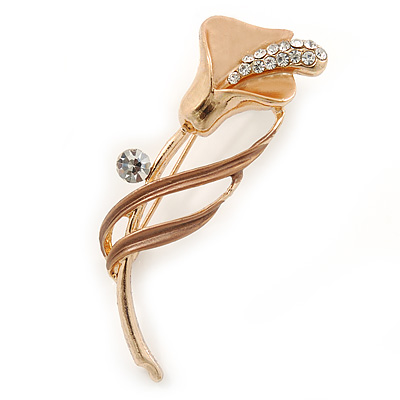 Delicate Magnolia/ Bronze Crystal Calla Lily Brooch In Gold Plating - 55mm L