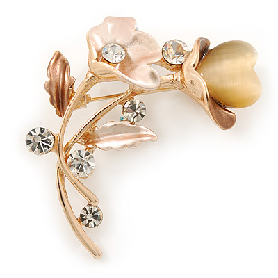 Magnolia/ Natural Crystal Calla Lily With Cat's Eye Stone Floral Brooch In Gold Tone - 48mm L